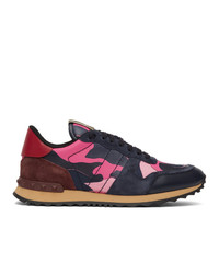 Valentino Navy And Pink Garavani Camo Rockrunner Sneakers