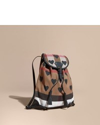 06736b2aa81f Burberry Heart Print Canvas Check Backpack With Leather Trim