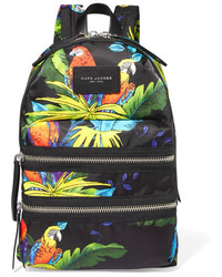 Leather trimmed printed shell backpack black medium 1160374