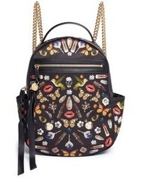 Alexander McQueen Small Obsession Print Satin Chain Backpack