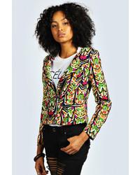 Multi colored Print Biker Jacket