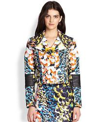 Nicholas Spring Floral Stretch Cotton Leather Biker Jacket