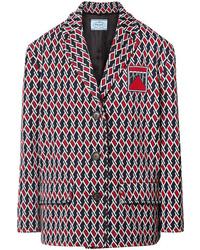 Prada Argyle Intarsia Knit Jacket