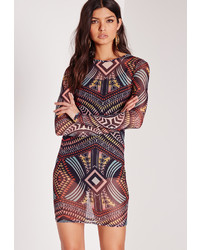 Missguided Printed Mesh Mini Dress Multi