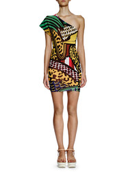 Stella McCartney One Shoulder Printed Sheath Dress Multi Colors