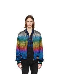 Amiri Black And Multicolor Silk Leopard Bomber Jacket