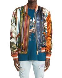 Amiri Patchwork Scarf Print Bomber Jacket