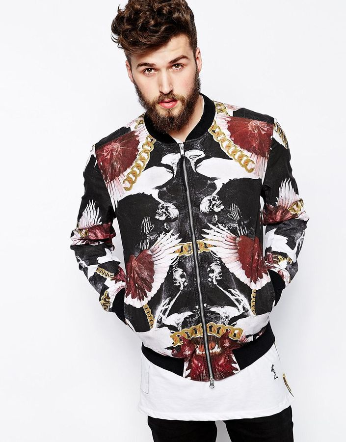 Religion Bomber Jacket In Chain Print Black | Where to buy & how ...