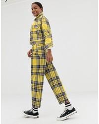 4320be9a04ca ... ASOS DESIGN Carpenter Boyfriend Jeans In Yellow Check Print