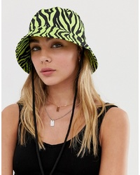 ASOS DESIGN Neon Zebra Bucket Hat