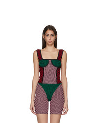 Paolina Russo Pink And Green Illusion Knit Bullseye Bustier Tank Top