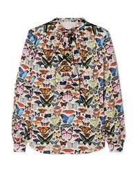 Mary Katrantzou Federika Pussy Bow Printed Satin Blouse