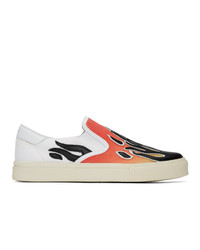 Amiri White And Red Flame Slip On Sneakers