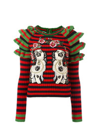 Gucci Embroidered Striped Knitted Jumper