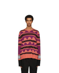 Neil Barrett Orange Striped Primitive Art Sweater
