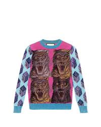 Gucci Tiger Intarsia Viscose Lurex Sweater
