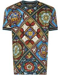 Dolce & Gabbana Kings Age Printed Stretch Cotton T Shirt