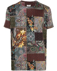 Etro Patchwork Paisley Print Cotton T Shirt