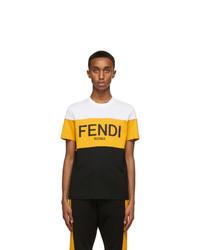 Fendi White And Yellow Logo T Shirt