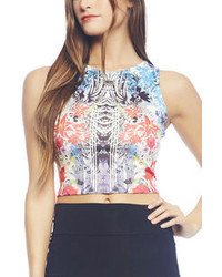 Arden B Tropical Mix Print Tank Crop Top