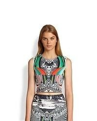 Clover Canyon Swirl Printed Neoprene Cropped Top
