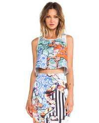 Clover Canyon Floral Silhouettes Neoprene Crop Top