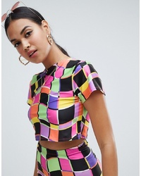 Jade Clark X Tara Khorzad Turtle Neck Crop T Shirt In Abstract Print