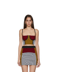 Paolina Russo Yellow And Red Illusion Knit Cropped Bustier Tank Top