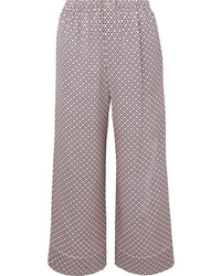 Fendi Cropped Printed Silk Charmeuse Pants
