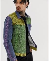 ASOS DESIGN Denim Jacket In Leopard Colour Block