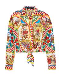 Dolce & Gabbana Cropped Tie Front Printed Cotton Poplin Shirt