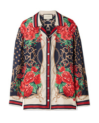 Gucci Oversized Printed Silk Twill Shirt