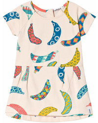 Indikidual Pale Yellow Multi Coloured Bananas Print Tuck Dress