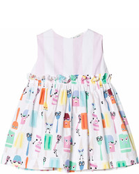 Fendi White Ice Lolly Monster And Stripe Party Dress