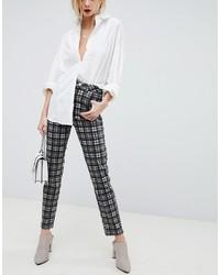 ASOS DESIGN Farleigh High Waist Slim Mom Jeans In Mono Check