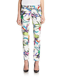 Just Cavalli Floral Print Skinny Ankle Jeans