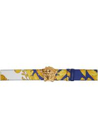Versace Blue And Gold Barroco Belt