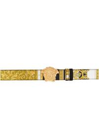 Versace Gold And Black Barocco Medusa Belt
