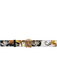Versace White And Black Barocco Medusa Belt