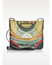 Multi colored Print Leather Crossbody Bag