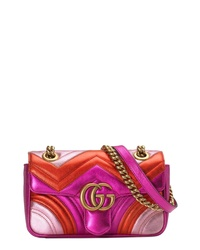 Gucci Mini Marmont 20 Metallic Leather Shoulder Bag
