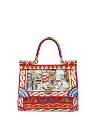 Multi colored Print Leather Handbag