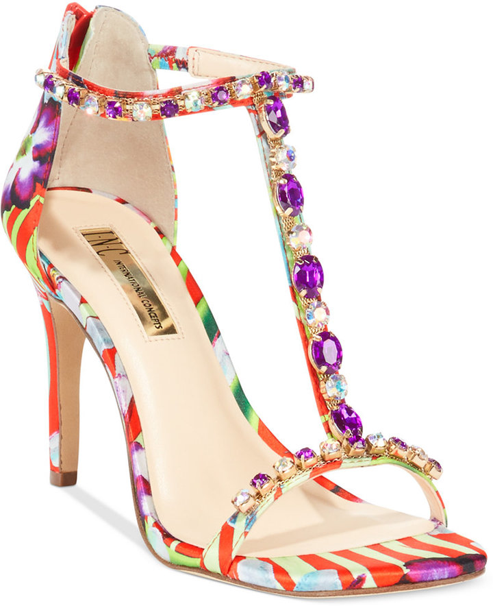 99a218b48b3 ... Multi colored Print Leather Heeled Sandals INC International Concepts  Rylee High Heel Sandals ...