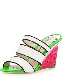 Webster Sophia Brooke Watermelon Wedge Sandal Whiteblack