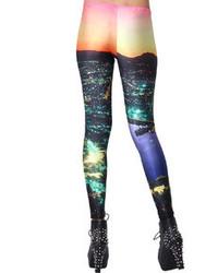 Romwe Brooklyn Night Print Skin Colored Leggings