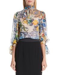 Dolce & Gabbana Tile Print Tie Neck Silk Blouse