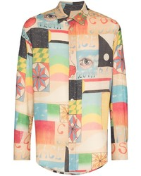 The Elder Statesman Boomslang Graphic Print Shirt