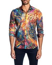 Jared Lang Trim Fit Art Print Sport Shirt