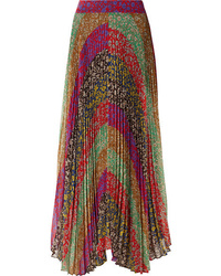 Alice + Olivia Katz Pleated Printed Tte Maxi Skirt