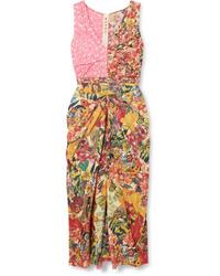 Marni Ruched Floral Print Cotton Poplin Midi Dress